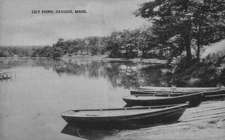 A few boats on the banks of Lily Pond