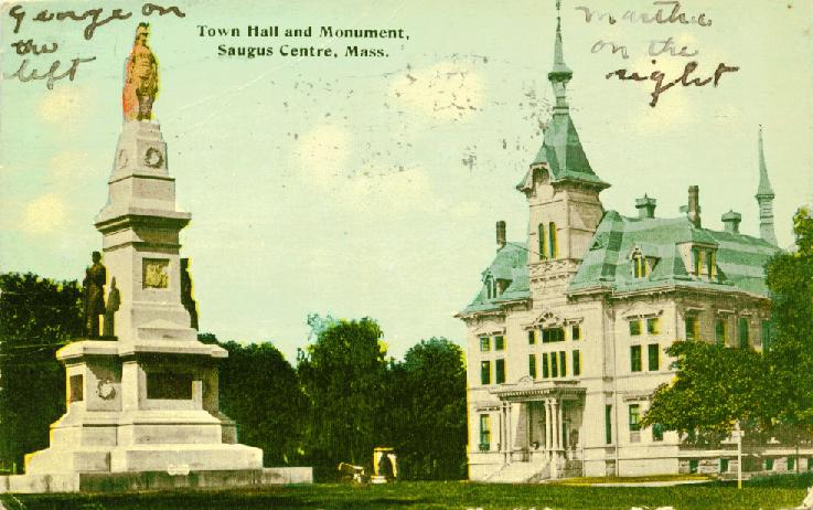 Soldiers' Monument and the Town Hall